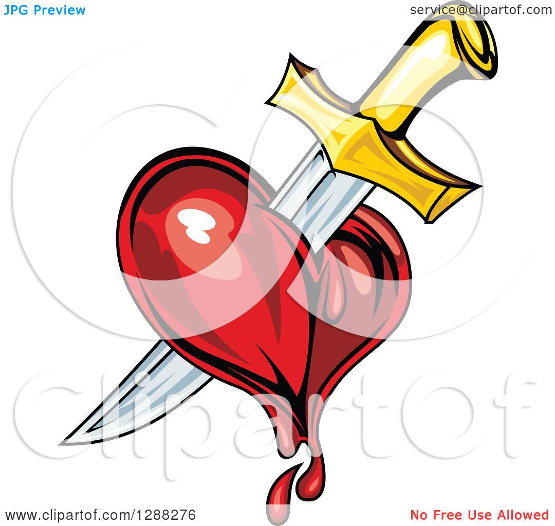 Clipart of a Sword Stabbing a Bleeding Heart 3.