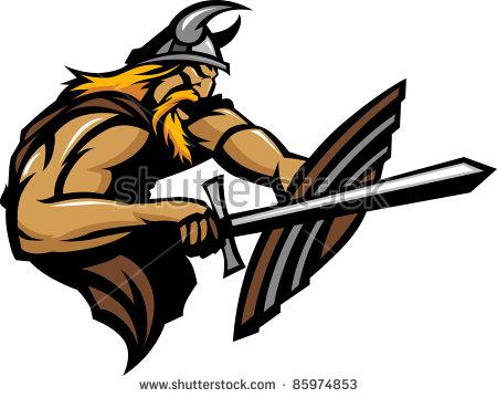 Viking Norseman Mascot Stabbing With Sword And Shield Vector Image.