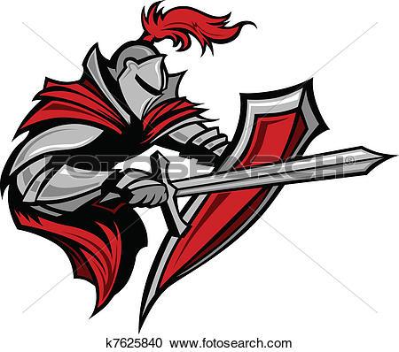 Clipart of Knight Warrior Mascot Stabbing k7625840.