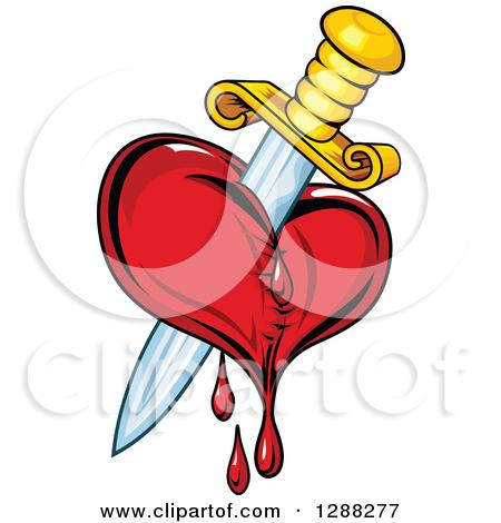 Clipart of a Sword Stabbing a Bleeding Heart 4.