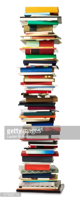 Tall Stack Of Books Stock Photo.