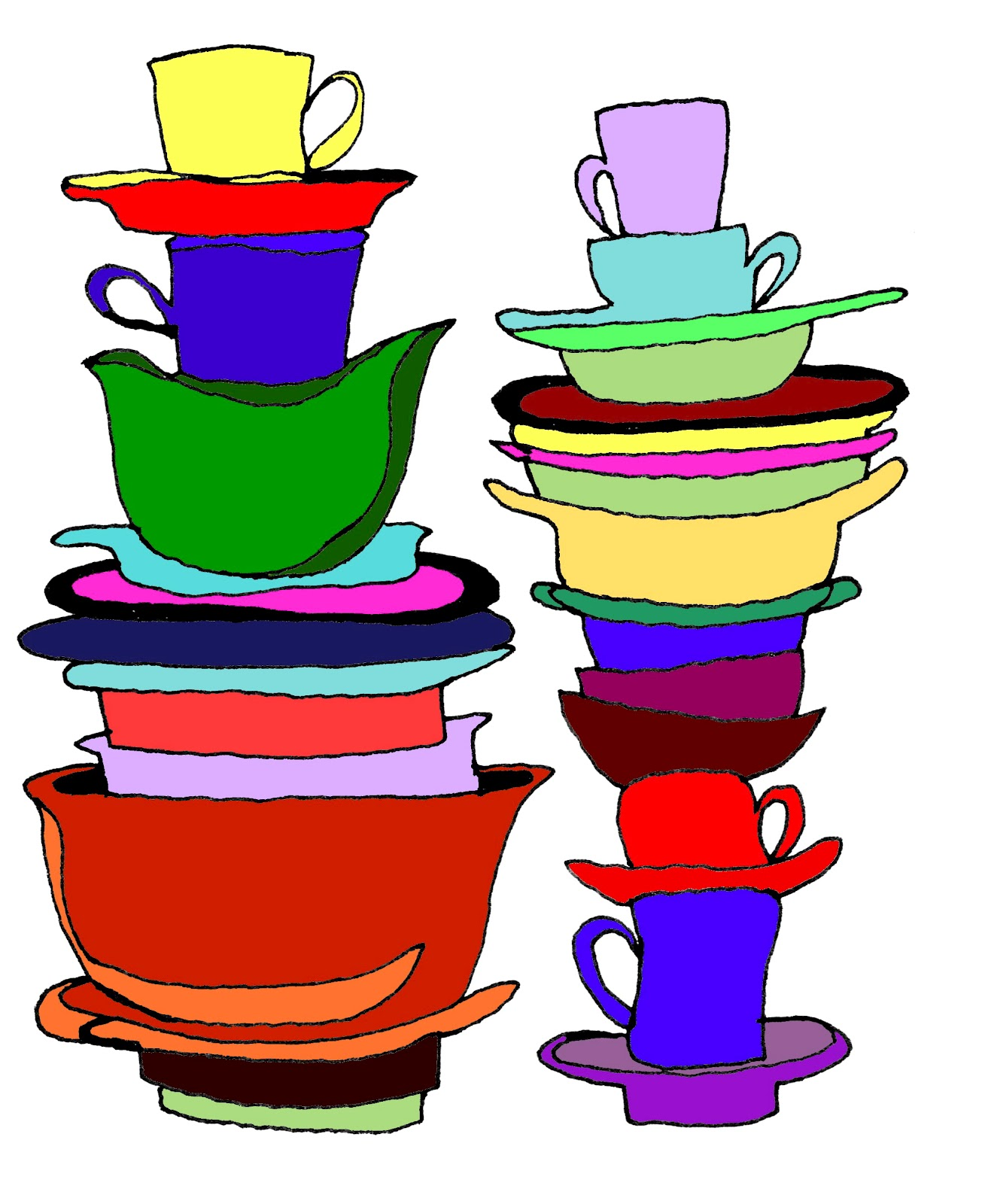 1820 Dishes free clipart.