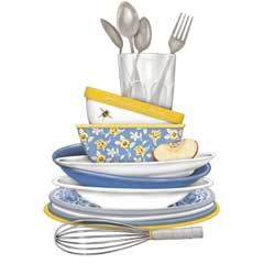 stacked dishes.