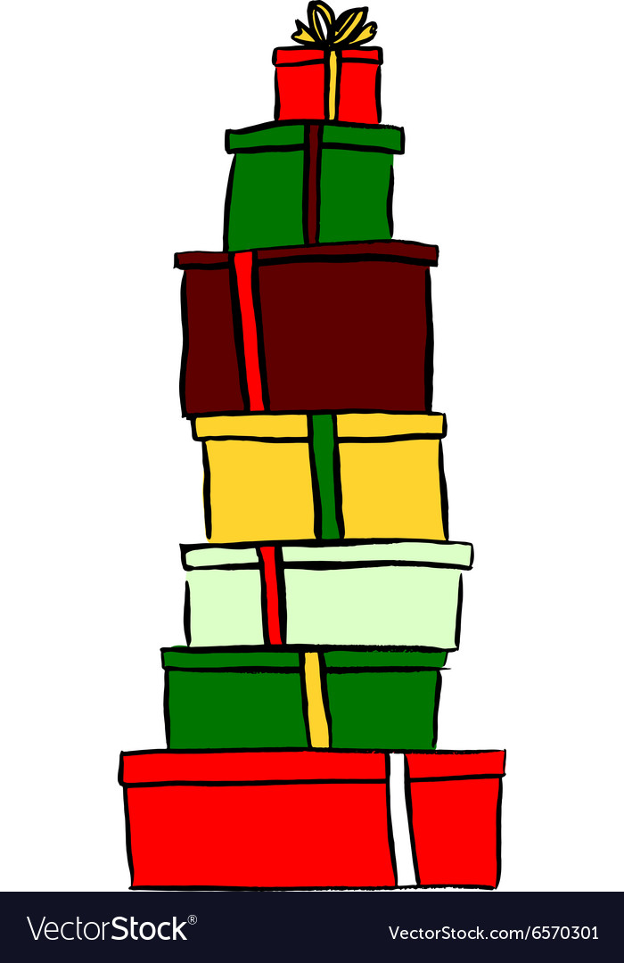 Stack of Christmas gifts.