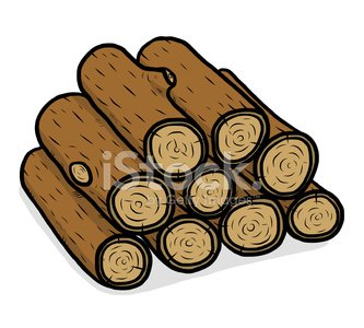 stack of nine wooden logs Clipart Image.
