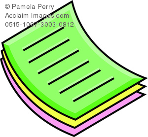 Clip Art Image of a Stack of Papers Icon.