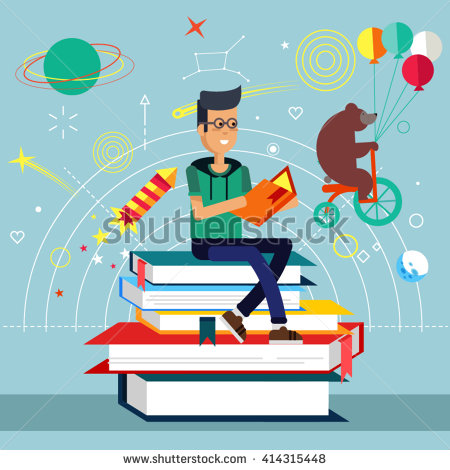 Reading A Book Stock Vectors, Images & Vector Art.