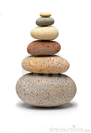 Balance White Stones Isolated Royalty Free Stock Photos.