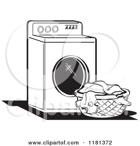 Black and White Retro Washing Machine and Laundry Posters, Art.