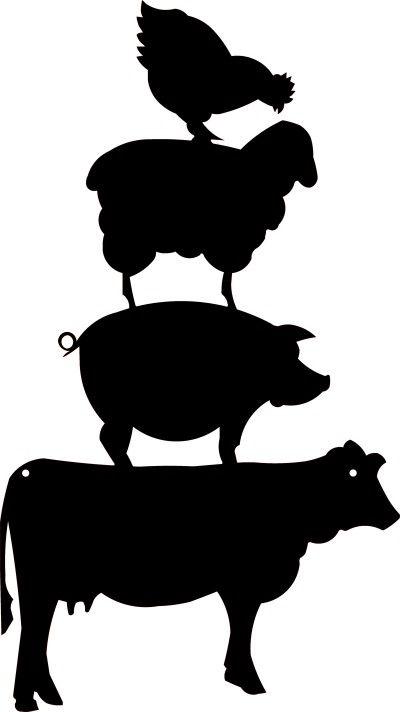 Farm Animal Stack Silhouette.
