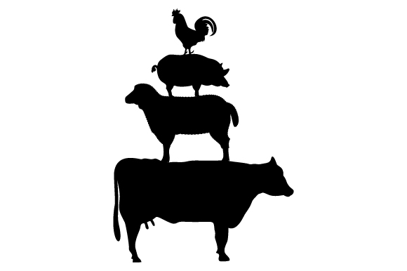 Stacked farm animals SVG Cut Files.
