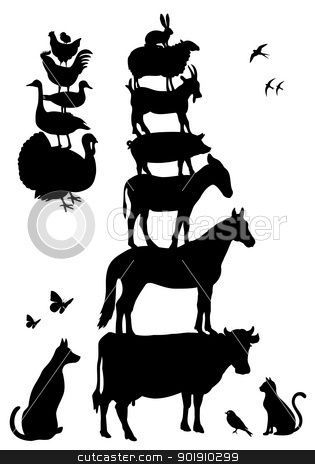 Vintage farm animal stack clipart collection.