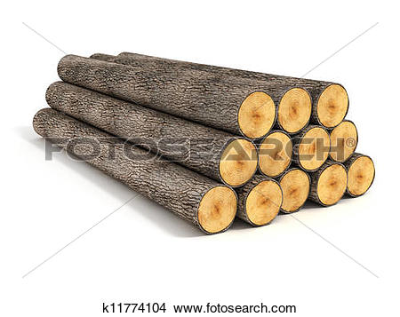 Stock Photo of stack of wood logs on white k11774104.