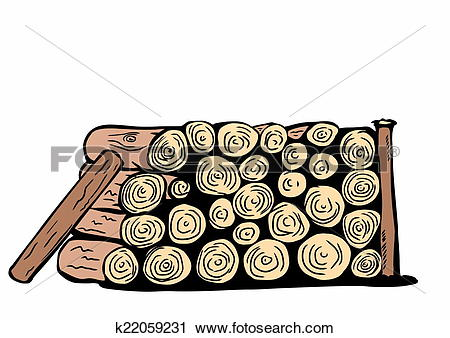 Clipart of doodle stack of firewood logs k22059231.