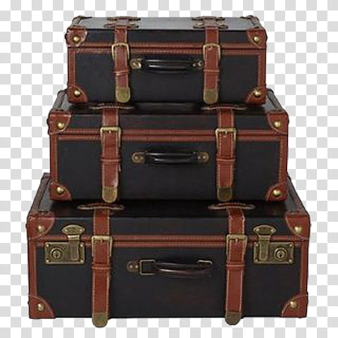 Stacked Luggage, brown.