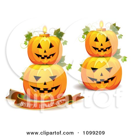 Clipart Happy Halloween Greeting Banner With Stacked Pumpkins And.