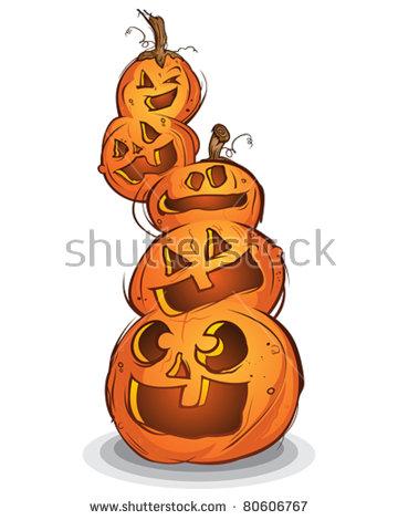 Halloween Pumpkins Stack Stock Photos, Royalty.