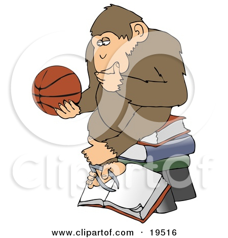Clipart Illustration of a Smart Chimpanzee Sitting On Top Of A.