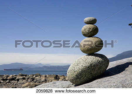 Pictures of Rocks Stacked On Beach, English Bay, Vancouver Bc.