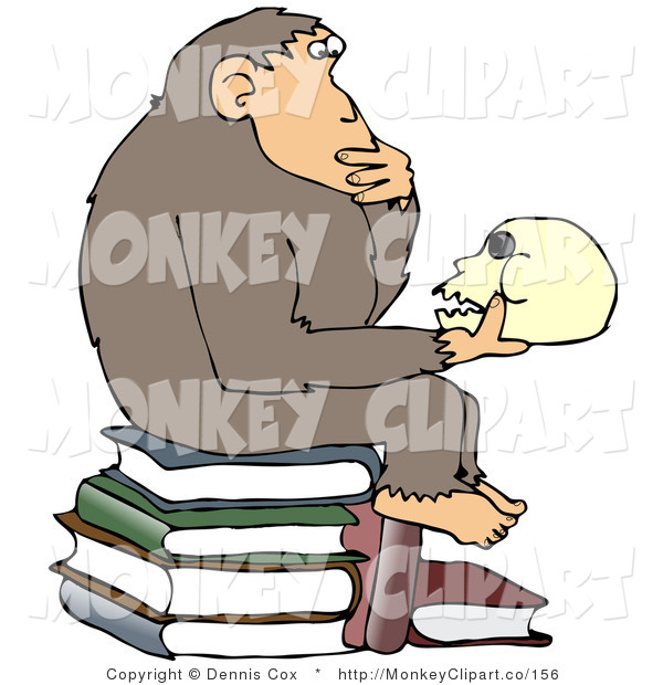 Clip Art of a Smart Chimpanzee Sitting on Top of a Stack of Text.