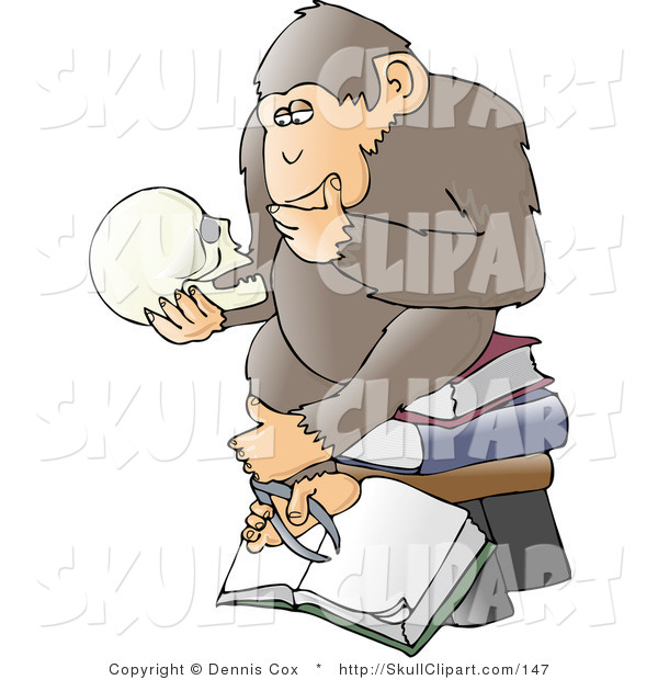 Vector Clip Art of a Chimpanzee in Thought, Sitting on Top of a.
