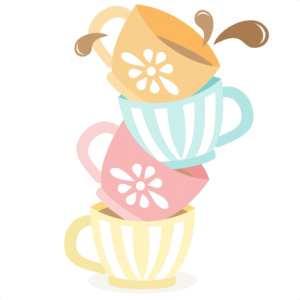 Tea Cups Stacked SVG cutting files for scrapbooking cute.