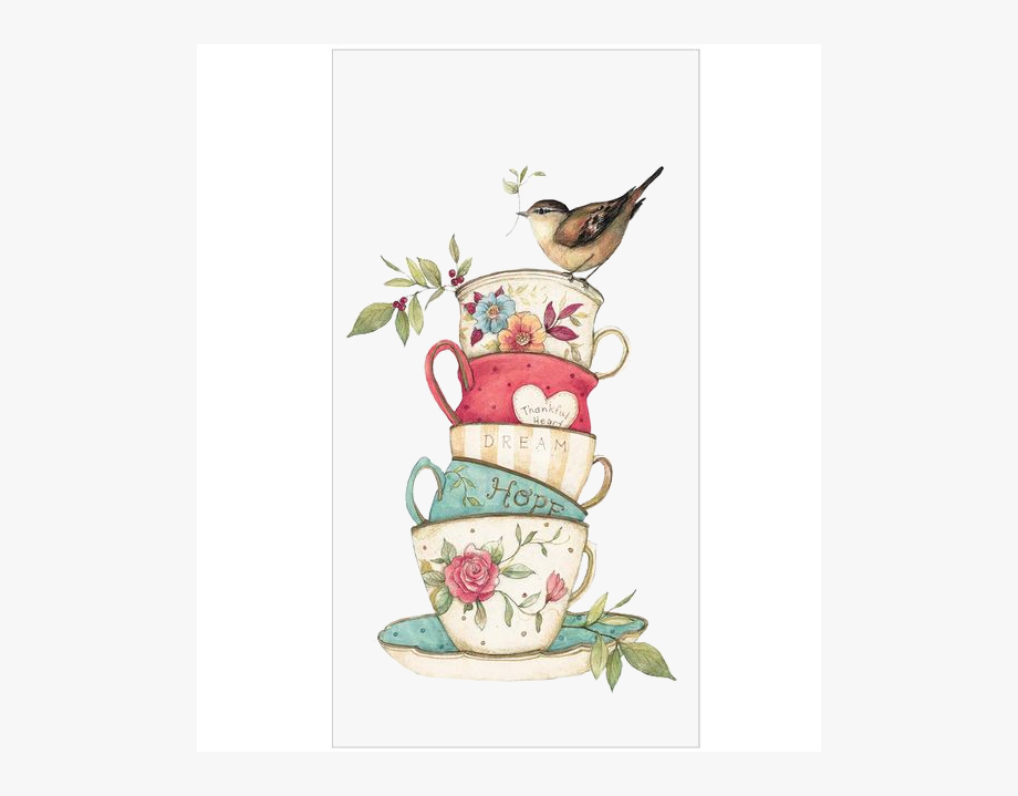 Bird With Colorful Tea Cups.