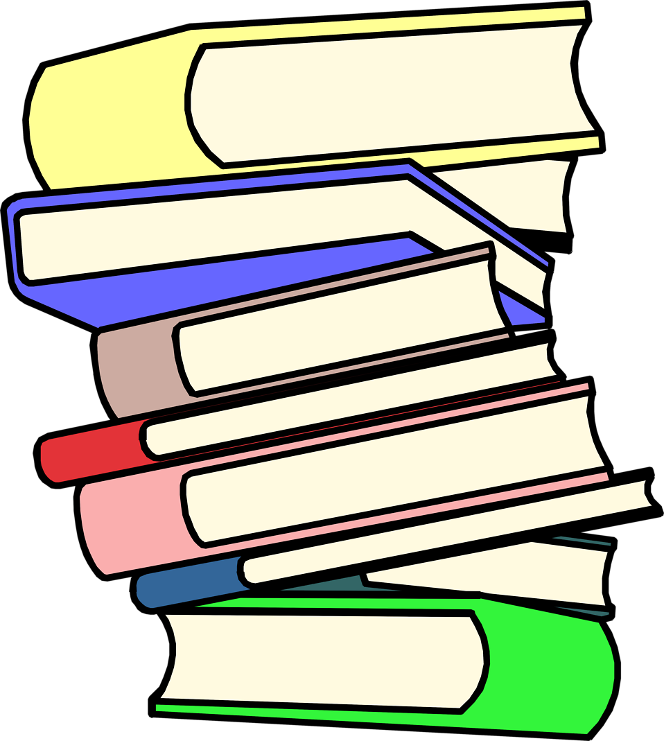 Books stacked up clipart.