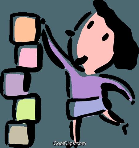 woman stacking blocks Royalty Free Vector Clip Art.