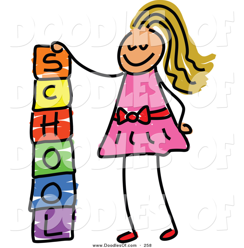 Vector Clipart of a Childs Sketch of a Happy Girl Stacking.