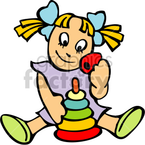 Pigtailed girl playing with stacking rings clipart. Royalty.