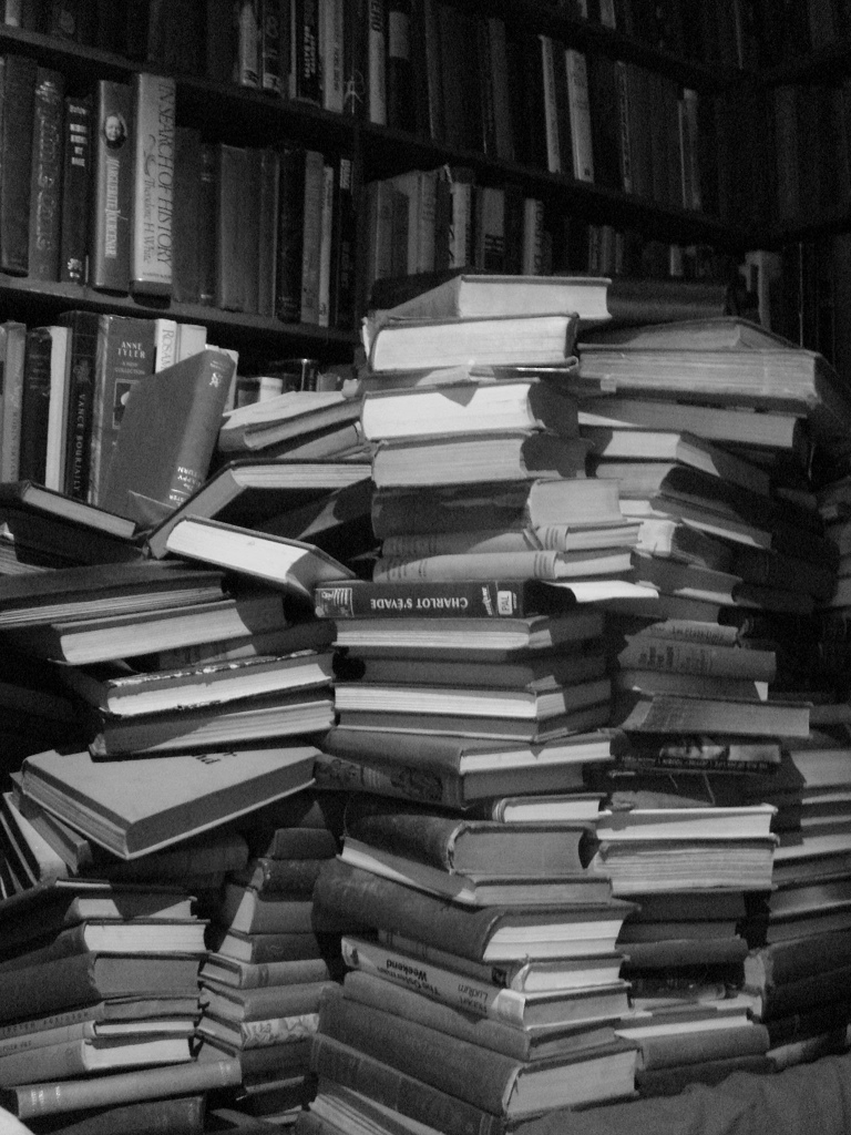 books in a stack (a stack of books).