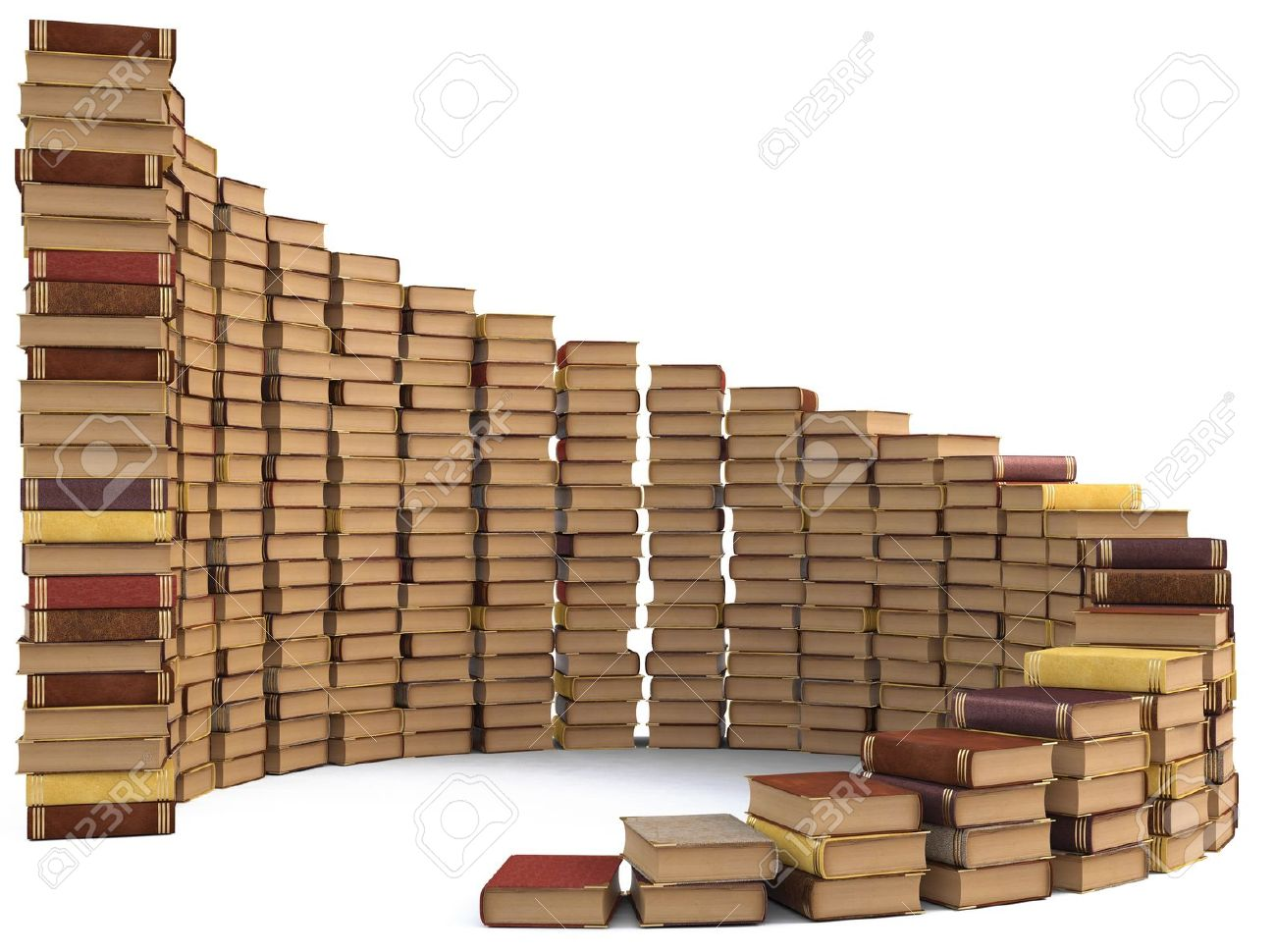 Stacks Of Books In The Form Of A Spiral Staircase. Isolated On.