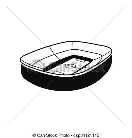 Vector Clip Art of Oval footbal stadium black icon.