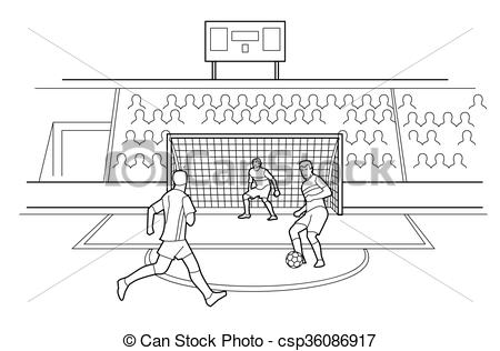 Vector Clip Art of Soccer Players Defending The Gates. Spectators.