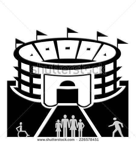 stadium clipart black and white #8