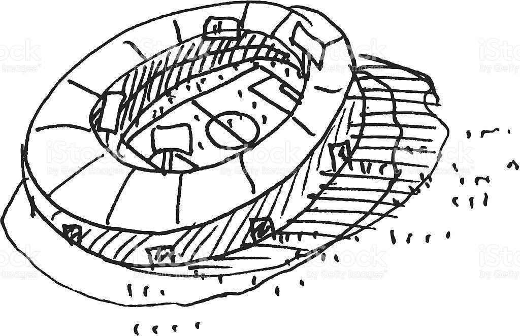 Soccer Stadium Sketch stock vector art 165907104.