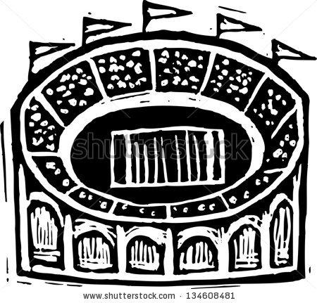 Black And White Vector Illustration Of Football Stadium.