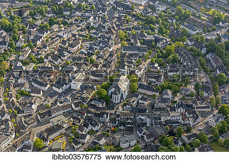 "Stock Image of ""Aerial view, town centre with the parish church of."