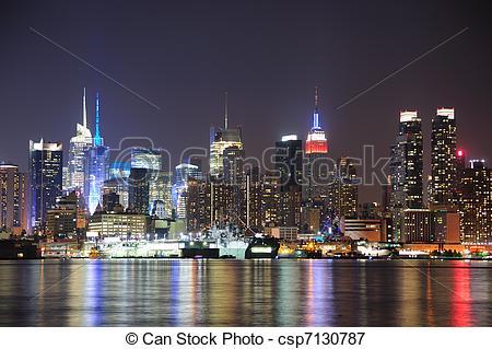 Bilder von Stadt, Stadtmitte, Skyline, york, Nacht, neu, Manhattan.