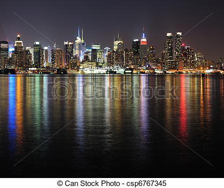 Stock Bilder von Stadt, Stadtmitte, Skyline, york, Nacht, neu.