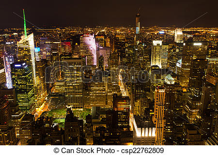 Stock Fotografie von Stadtmitte, Manhattan, Nacht.