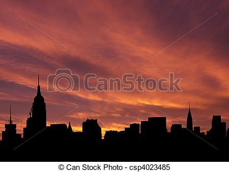 Stock Illustrationen von Stadtmitte, Skyline, an, Sonnenuntergang.
