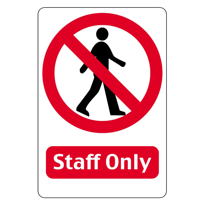 Staff only vector sign.