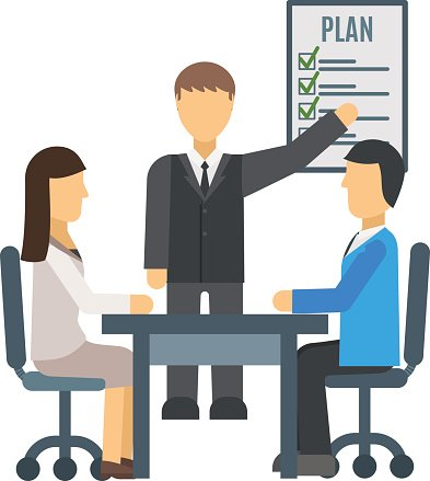 Training staff briefing presentation vector Clipart Image.