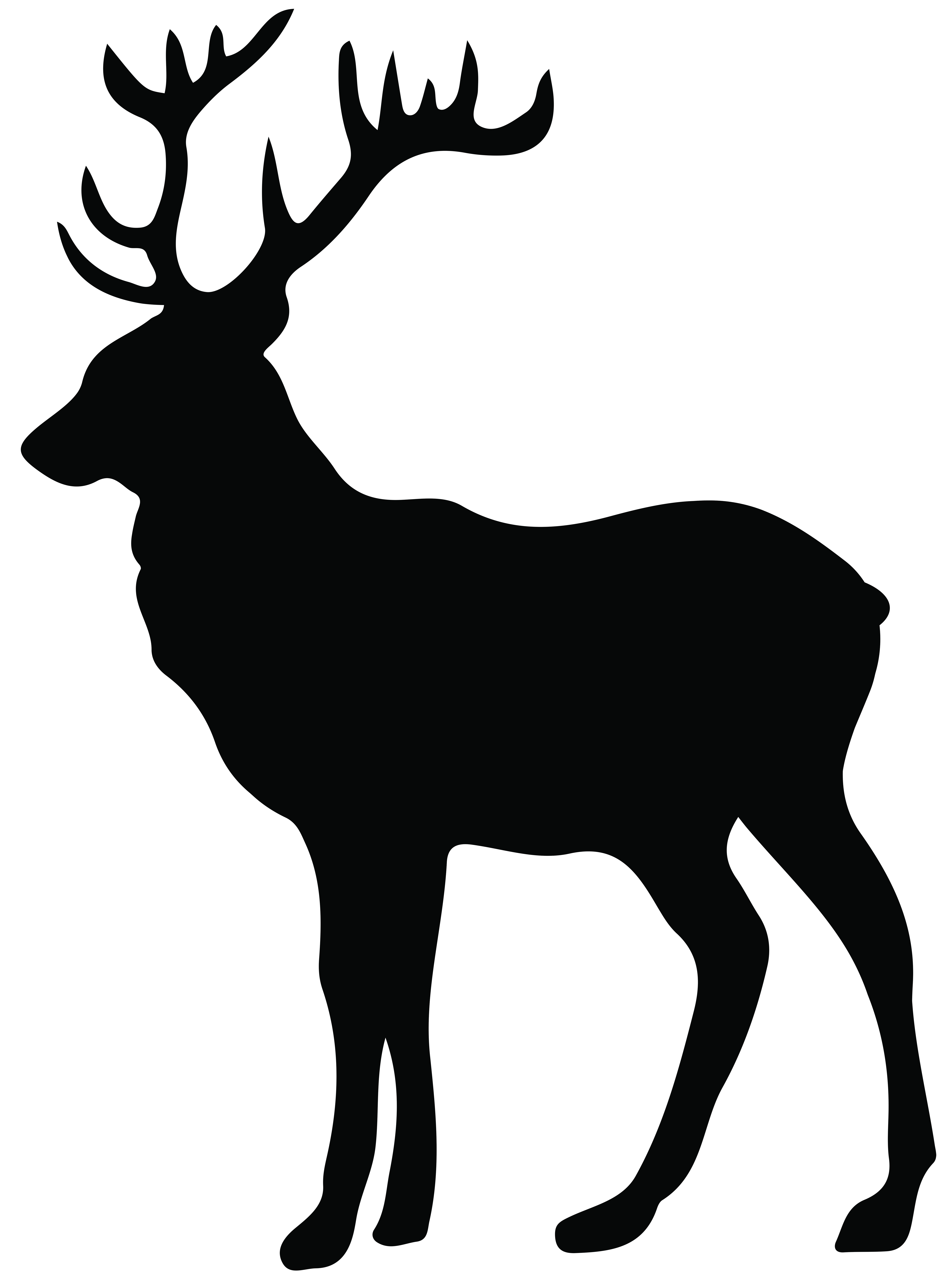 Stag Silhouette PNG Transparent Clip Art Image.