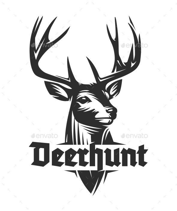 Deer Woodcut Logo Design Classic Stag logo design created in.