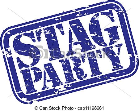 Clip Art Vector of Grunge stag party rubber stamp, vector.