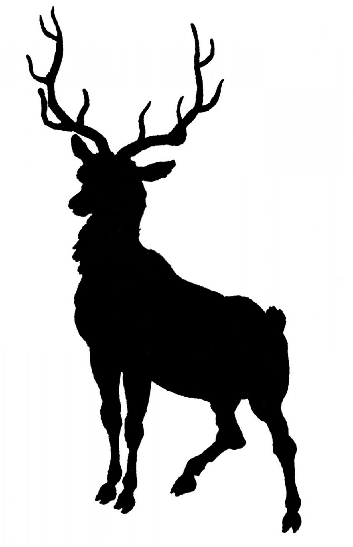 Vintage Clip Art Deer With Antlers Silhouette.
