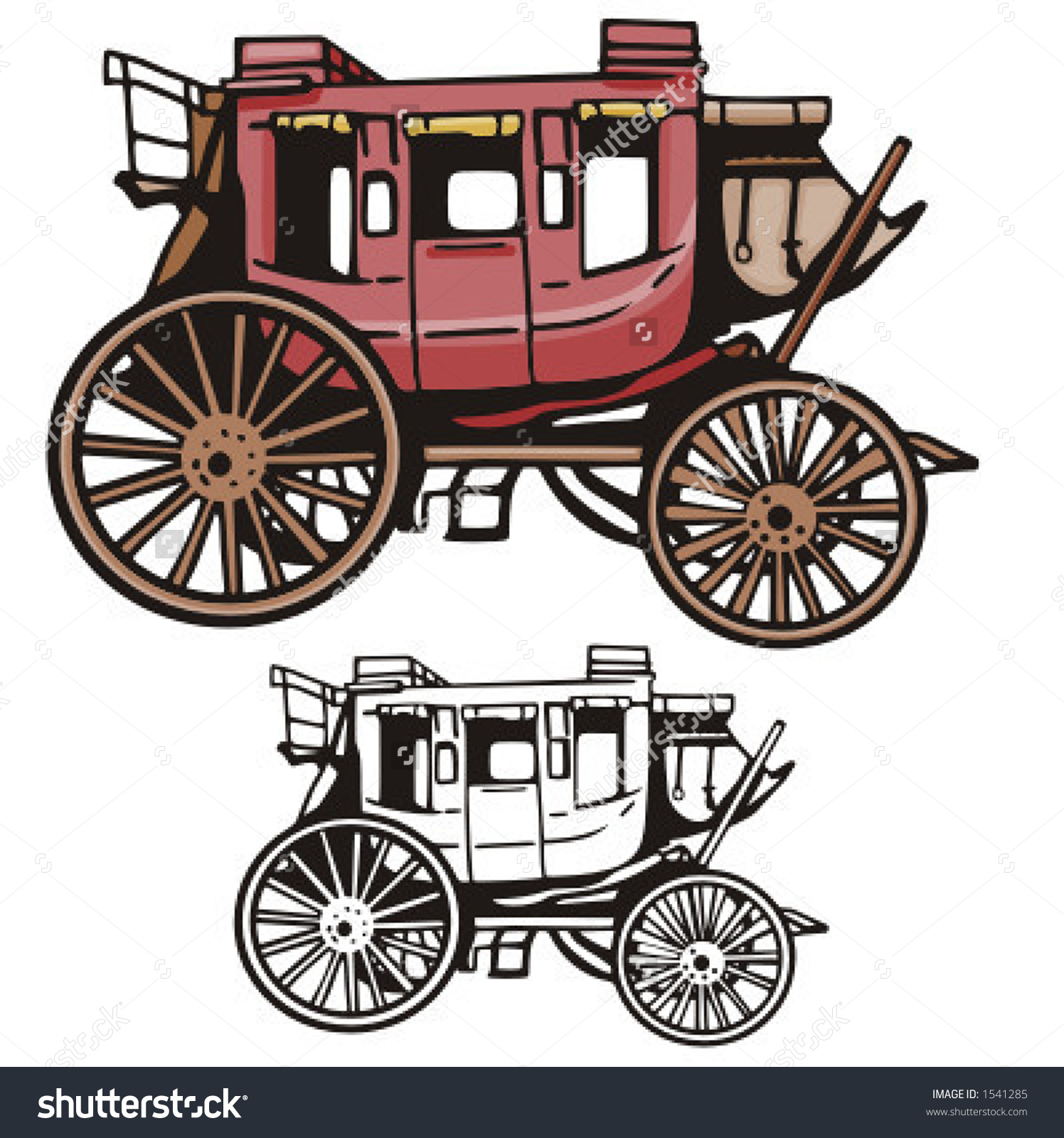 Illustration Western Stage Coach Stock Vector 1541285.